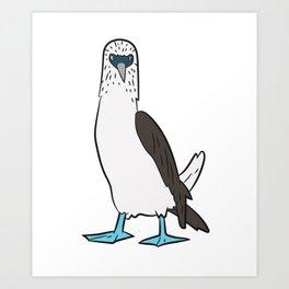 Cute Blue Foot Booby Bird Dancing Blue Foot Boobie Bird Art Print