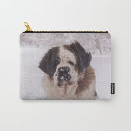St Bernard dog on the snow Carry-All Pouch