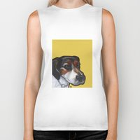 jack russell Biker Tanks featuring Milo the Jack Russell Terrier by Pawblo Picasso