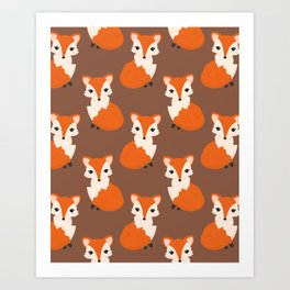Cute Sitting Fox Illustration with Brown Background Art Print
