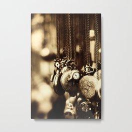 Vintage Clocks-Sepia Metal Print
