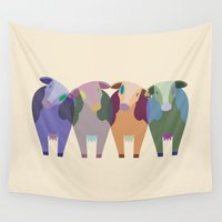 cows Wall Tapestries featuring Confused Cows by TypicalArtGuy