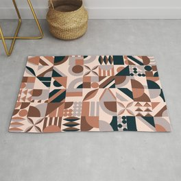 Colorful abstract geometric shape mosaic background. Mosaic background of colored blocks. Creative modern Geometrical colored forms and lines. Seamless Pattern of Pop. Tile Decor Wallpaper. Beautiful.  Rug