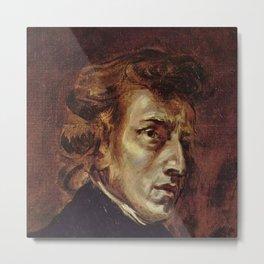 Eugene Delacroix- Portrait of Chopin Metal Print