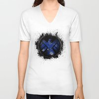 shield V-neck T-shirts featuring Avengers - SHIELD by Trey Crim