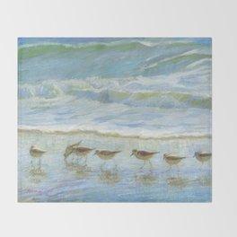 Shorebirds, A Day at the Beach Throw Blanket