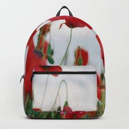 Field of Poppies Against Grey Sky Backpack