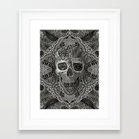 lace Framed Art Prints featuring Lace Skull by Ali GULEC