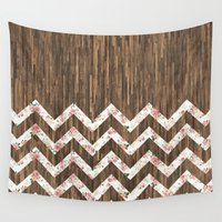 preppy Wall Tapestries featuring Vintage Preppy Floral Chevron Pattern Brown Wood by Girly Road