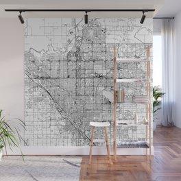 Fresno White Map Wall Mural