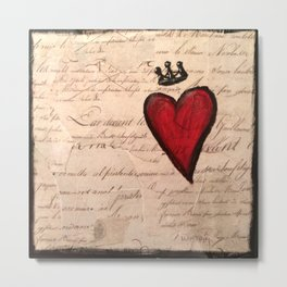French Script Heart Metal Print