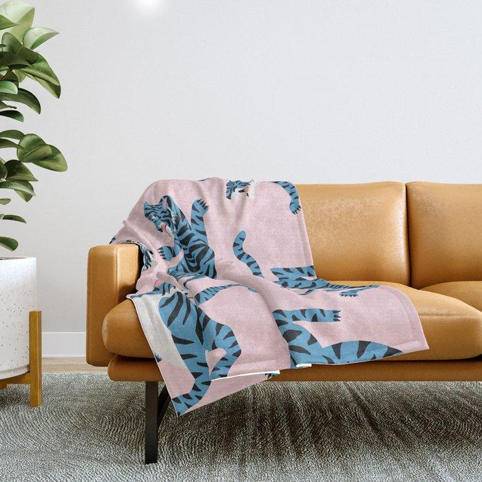 Pastel Pink & Blue Tiger Pattern Throw Blanket