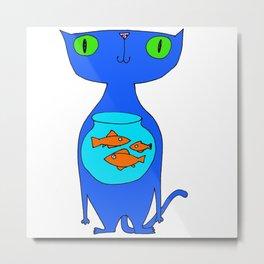 This Cat Eats . . . Goldfish Metal Print