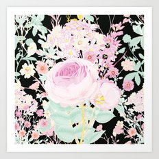 Flower Bouquet in Black Art Print