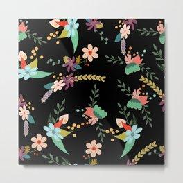 Floral pattern black Metal Print