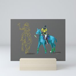poloplayer turquoise grey Mini Art Print