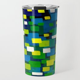"""Original Abstract Acrylic Painting by  """"City Lights"""" Colorful Geometric Square Pattern Gre Travel Mug"""
