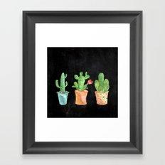 Three Green Cacti On Chalkboard Framed Art Print