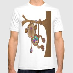 Monkey of the Day MEDIUM Mens Fitted Tee White