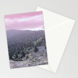Pink Sunset on Mountains Stationery Cards