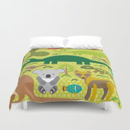 Animals Australia snake, turtle, crocodile, alliagtor, kangaroo, dingo Duvet Cover