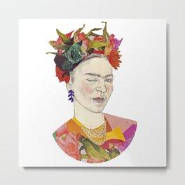 Winking Frida Kahlo collage Metal Print
