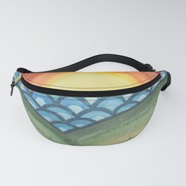 Psychedelic Sunset - Abstract Watercolor Landscape Fanny Pack