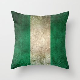 Old and Worn Distressed Vintage Flag of Nigeria Throw Pillow