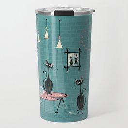 Mid Century Kitty Mischief - ©studioxtine Travel Mug