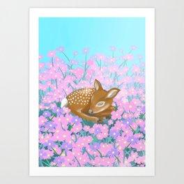 Baby deer illustration Art Print