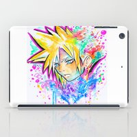 playstation iPad Cases featuring Original - CLOUD STRIFE - Watercolor Painting - Playstation by Jonny Clingan