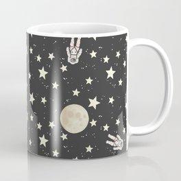Space - Stars Moon and Astronauts on black Coffee Mug