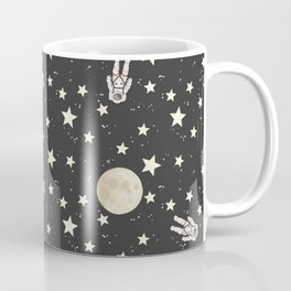 Space - Stars Moon and Astronauts on black Coffee Mug