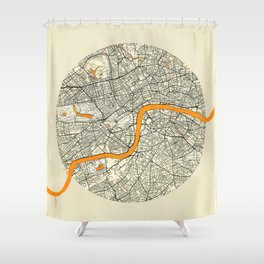 London Map Moon Shower Curtain