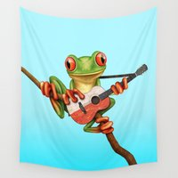 poland Wall Tapestries featuring Tree Frog Playing Acoustic Guitar with Flag of Poland by Jeff Bartels