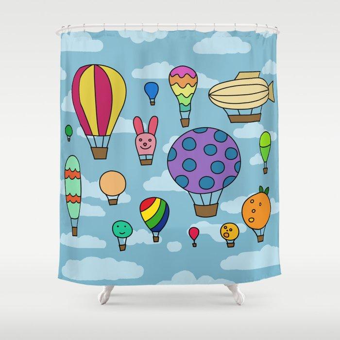 Hot Air Balloons Shower Curtain By Elizastein