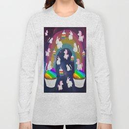 Rainbow Unicorn Cupcakes Space Cats Bunnies Birthday Long Sleeve T-shirt