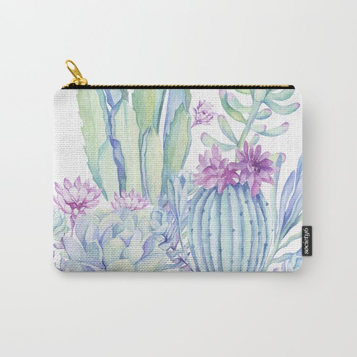 Mixed Cacti White #society6 #buyart Carry-All Pouch