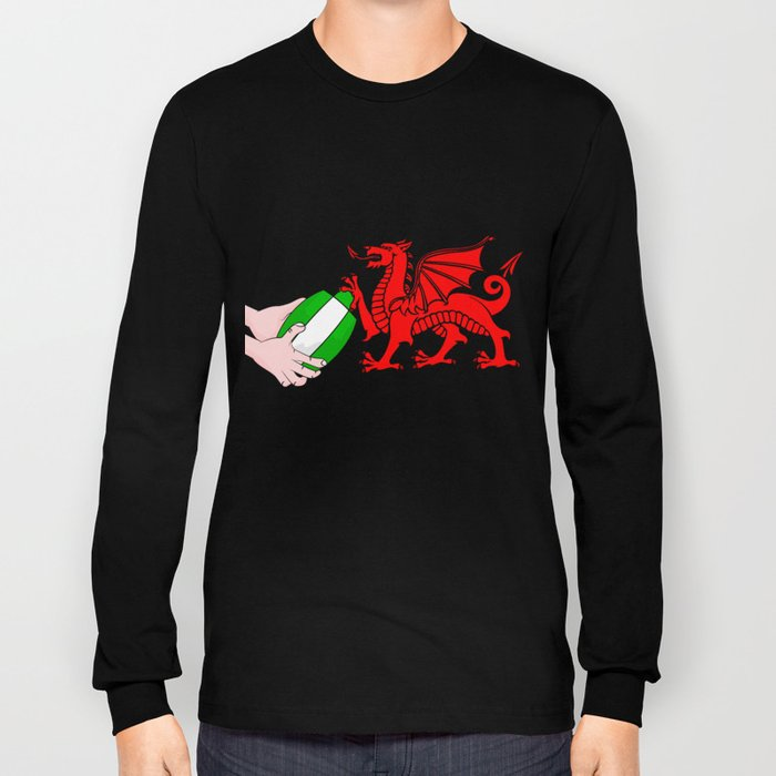Wales Rugby Flag Long Sleeve T-shirt