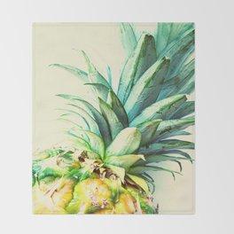 Green Pineapple Throw Blanket