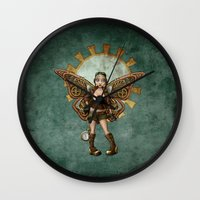 steam punk Wall Clocks featuring Steam Punk Pilot Faery by Hafapea