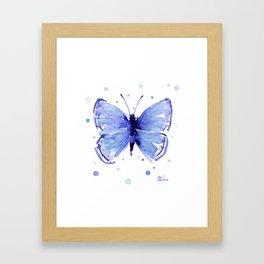 Dark Blue Butterfly Watercolor Framed Art Print