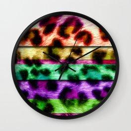 Multicolor Leopard Print Colorful Stripes Wall Clock