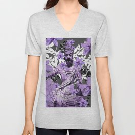 CHINA ANTIQUITIES YESTERDAY MEETS TODAY IN PURPLE AND WHITE Unisex V-Neck