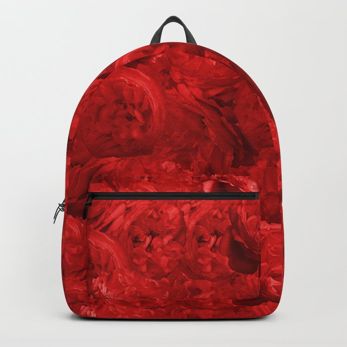 Bed of fire red roses - Rose floral Flowers Backpack