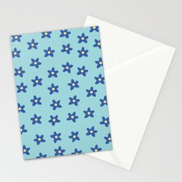 Blue Turquoise Floral Pattern Stationery Cards