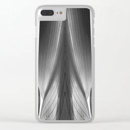 Architectural abstract captured in black and white from low perspective rendering a dramatic view. Clear iPhone Case