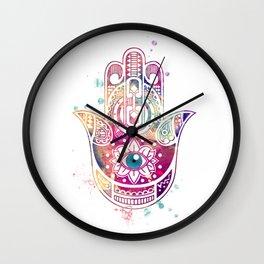 Hamsa Hand Colorful Purple Watercolor Art Gift Wall Clock