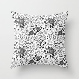 Star Sapphire Floral Celebration Black on White Throw Pillow