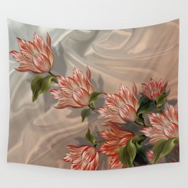 """Coral flowers on white silk"" (Air Spring) Wall Tapestry"